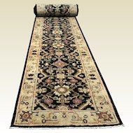 "Long Persian Mahal Design Vegetable Dye Hand Tied Wool Rug Carpet Runner 24' 6"" x 2' 7"""