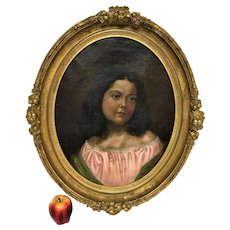 Circa 1858 19th Century Oil Portrait of Young Girl Beautiful Oval Gilt Frame