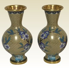 Beautiful Pair of Vintage Chinese Republican Cloisonne  Vases With Blue Flower Decoration