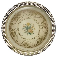 Vintage Mustard Yellow Reticulated Round Tole Tray Toleware