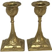 Pair of Small Antique French Art Nouveau Gilt Copper Candle Stick