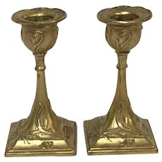 Pair of Small Antique French Art Nouveau Gilt Copper Candle Stick