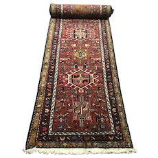 """Long Persian Karaja Heriz Runner 15' 10"""" by 2' 8"""""""