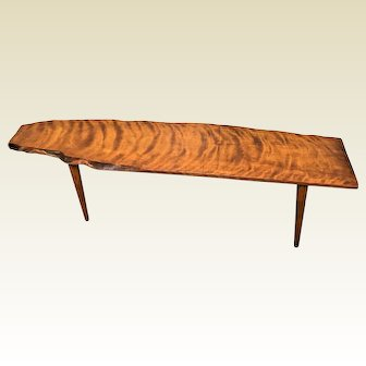 Live Edge Mid Century Danish George Nakashima Style Cherry Slab Coffee Bench