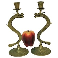 "Pair of 10"" Vintage Brass Dragon Candle Sticks"