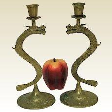 "Pair of 10"" Vintage Brass Dragon Candle Sticks"
