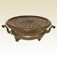 19th Century Copper Pierced Footed Hand Warmer