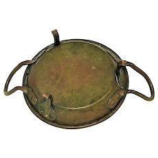 Heavy 19th Century Hand Forged Footed Copper Pan