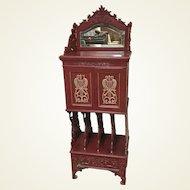 Ornate Lacquered Walnut Victorian Record Cabinet