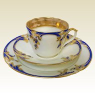 Cobalt Blue & Gold Decorated Old Paris Porcelain Trio Teacup Saucer & Plate