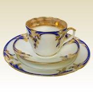 Cobalt Blue & Gold Decorated Old Paris Porcelain Trio Teacup Saucer & Plate