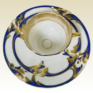 Cobalt Blue & Gold Decorated Old Paris Porcelain Trio Teacup Saucer & Plate #3