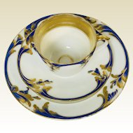 Cobalt Blue & Gold Decorated Old Paris Porcelain Trio Teacup Saucer & Plate #2