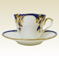 Cobalt Blue & Gold Decorated Old Paris Porcelain Teacup Saucer