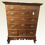 Donald Dunlap Queen Ann Tiger Maple Chest On Frame