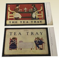 "Very Rare! Pair of Maxfield Parrish THE TEA TRAY"" 1920's Postcard Cornish Rd NH"