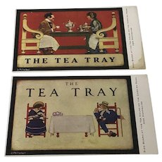 "Very Rare! Pair of Maxfield Parrish THE TEA TRAY"" 1920's Postcard Cornish Rd NH"