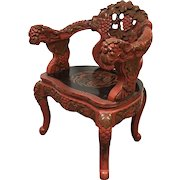 Vintage Heavily Carved Grape Vine Decorative Japanese Red Lacquered Arm Chair