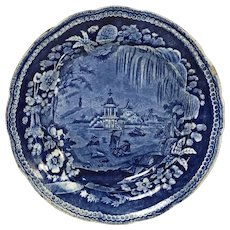 Antique Dark Blue Transferware Weeping Willow Oriental Plate Staffordshire