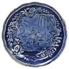 Antique Dark Blue Transferware Weeping Willow Oriental Plate Staffordshire
