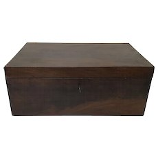 19th Century English Mahogany Writing Wooden Box With Original Lock Key