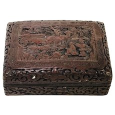 Antique 19th Century Chinese Carved Cinnabar Box