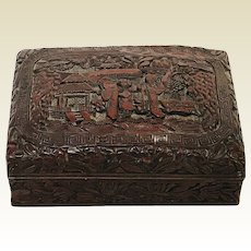 Well Carved Antique 19th Century Chinese Cinnabar Box