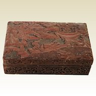 Republican Period Chinese Carved Cinnabar Box