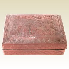 19th C Chinese Carved Cinnabar Box