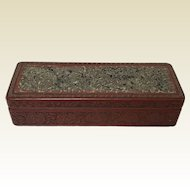Long Republican Period Chinese Carved Cinnabar Box