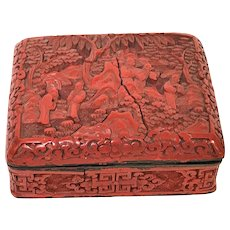 Antique Chinese Carved Footed Cinnabar Box
