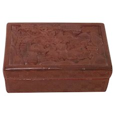 Small Republican Period Chinese Carved Cinnabar Box