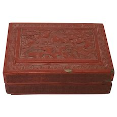 Antique Chinese Carved Cinnabar Box Wooden ware