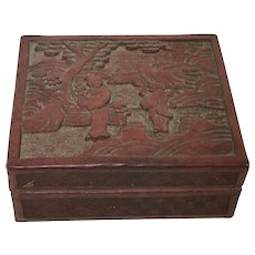 Vintage Chinese Carved Cinnabar Box Wooden Ware