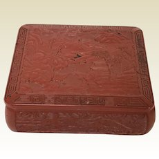 Vintage Chinese Cinnabar Style Ceramic Box