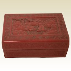 Small Chinese Cinnabar Carved Box