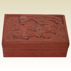 Small Vintage Chinese Cinnabar Carved Box