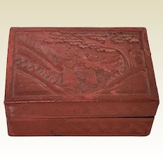 Small Vintage Chinese Cinnabar Carved Wooden Box