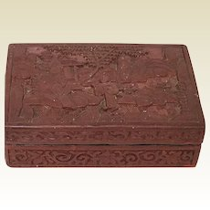 Republican Period Chinese Cinnabar Carved Box