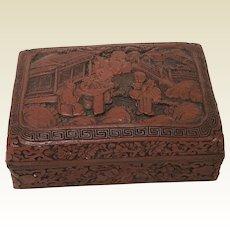 19th Century Chinese Cinnabar Carved Box