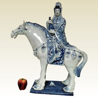 Large Chinese Porcelain Figure of Seated Woman on Horse W/ Mystical Elements Statue