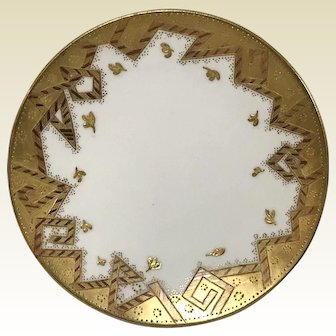 Fine Set of 10 Antique Continental Porcelain Dessert Plates W/ Geometric Gold Crest Decoration