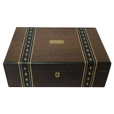 Antique Mahogany Lap Writing Wooden Desk Box W/ Black & Gold  Stencil Decoration
