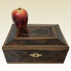 Fine 19th Century Figural Rosewood Inlaid Valuables Jewelry Box