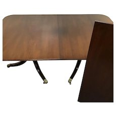 Kittinger Georgian Style Mahogany Double Pedestal Dining Table