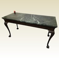 19th Century English Chippendale Console Center Kitchen Island Table Marble Top