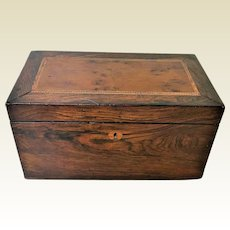 Fine 19th Century Rosewood Maple Inlaid Tea Caddy