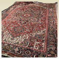 "Semi Antique 12' x 8'6"" Persian Heriz Hand Knotted Wool Area Rug"