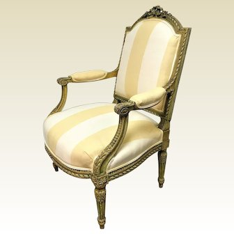 Exceptional Circa 1800 French Louis XVI Bergere Armchair W/ Fine Carving