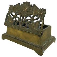 Vintage Ornate Brass Stamp Box